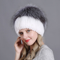 Luxury Winter Women Hat Genuine Rex Rabbit Fur Hats Lady Beanie Fashion Striped Head Top Warm Fox Fur Cotton Yarn Knit Caps