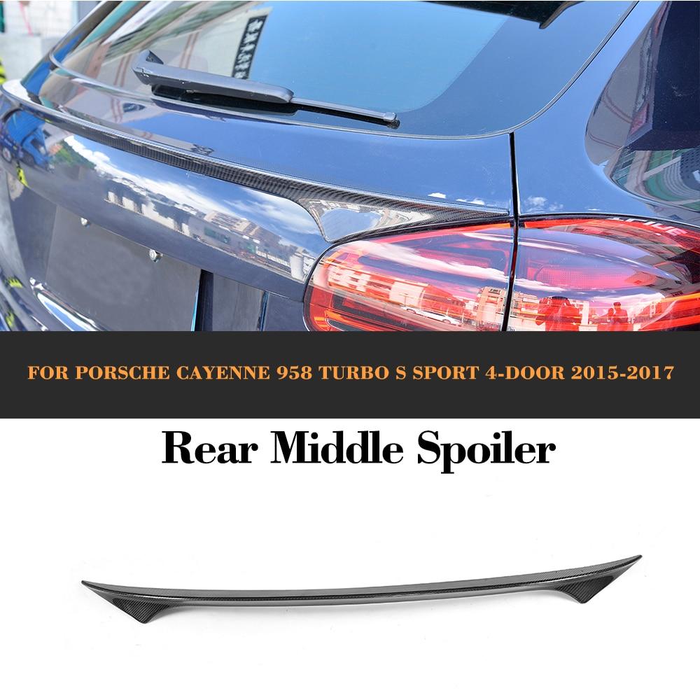 958 carbon fiber rear custom middle spoiler wing for porsche cayenne 958 suv 4 door 2015 2017 gts s sport trunk trim sticker