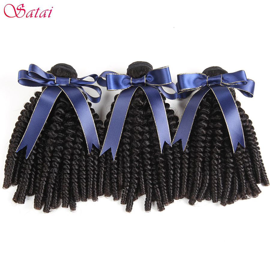 SATAI Afro Kinky Curly Hair Human Hair 3 Bundles Deal Brazilian Hair Weave Bundles Natural Color Non Remy Hair Extensions-in 3/4 Bundles from Hair Extensions & Wigs    1