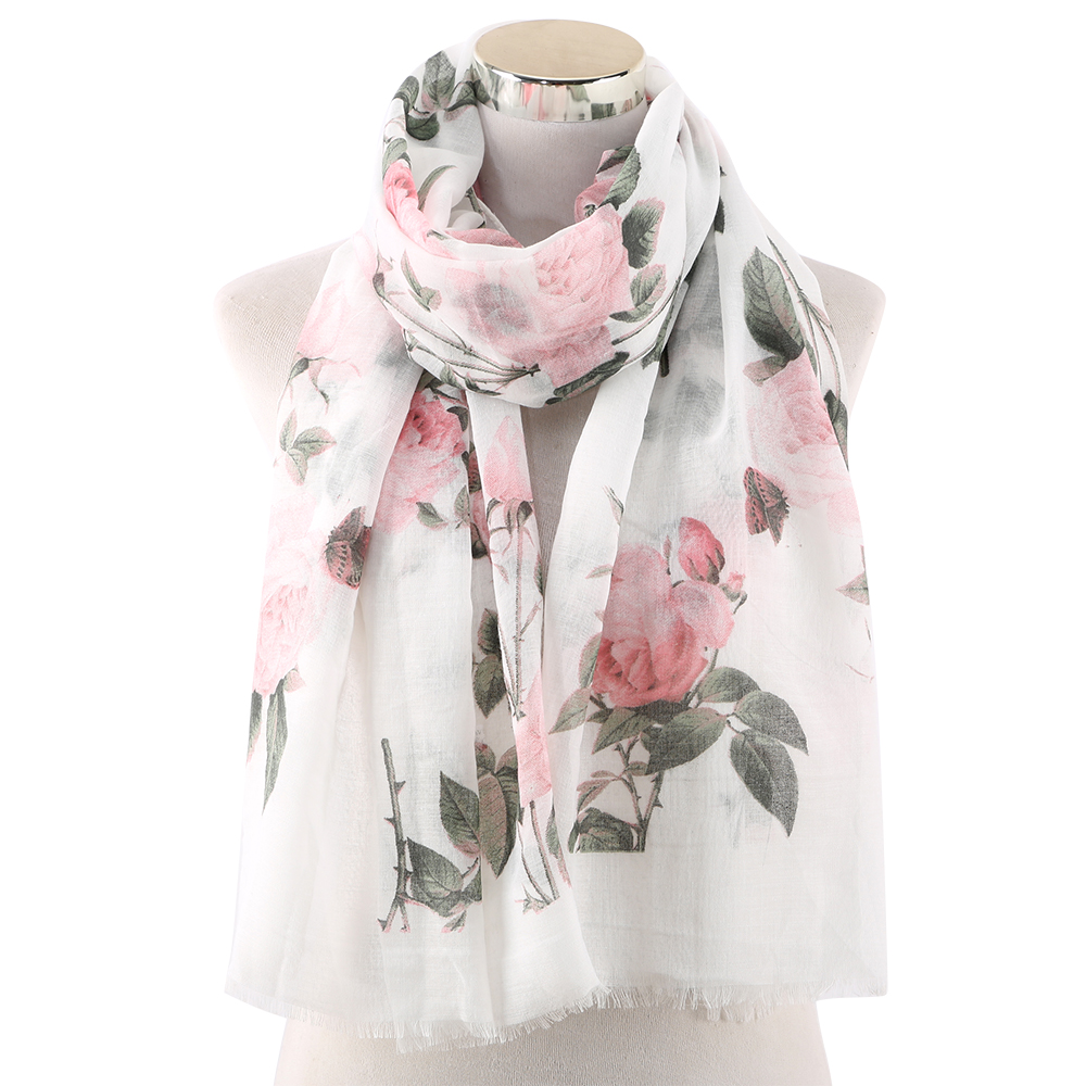 Winfox Fashion Pink White Women Flower Floral Viscose Scarves Shawls And Wraps Lady Scarf Foulard Muslim Hijabs