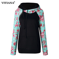 VITIANA Women Black Printed Floral Hoodies Female 2017 Autumn Winter Long Sleeve Casual Hooded Sweatshirt Pullovers