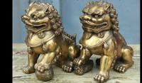 6711159130++Classic China FengShui Brass Fu Foo Dog Lion Guarding Door Statue Figurine Pair