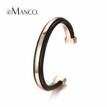 2017 emanco populares steampunk pulseras y brazaletes de puño para las mujeres negro cuero de la pu de oro plateado joyería de las pulseras regalos de año nuevo