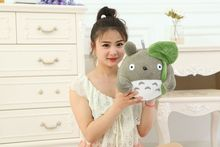 cute plush Totoro toy Lotus leaf  totoro doll classic expression totoro doll gift about 32cm