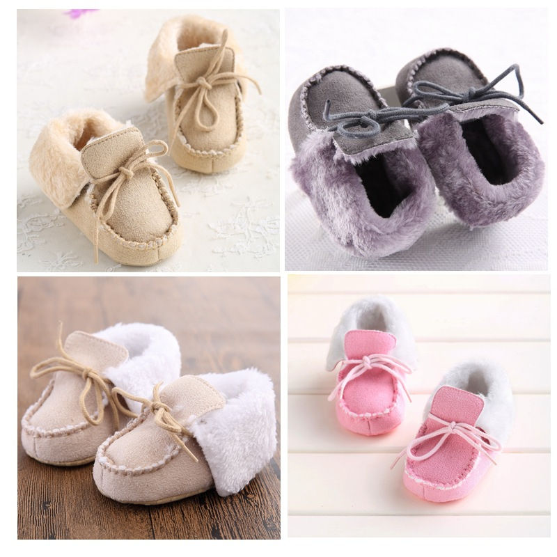 Winter cotton wool lace up Baby Moccasins soft sole warm Baby boys Girls Shoes First Walker newborn first walker booties