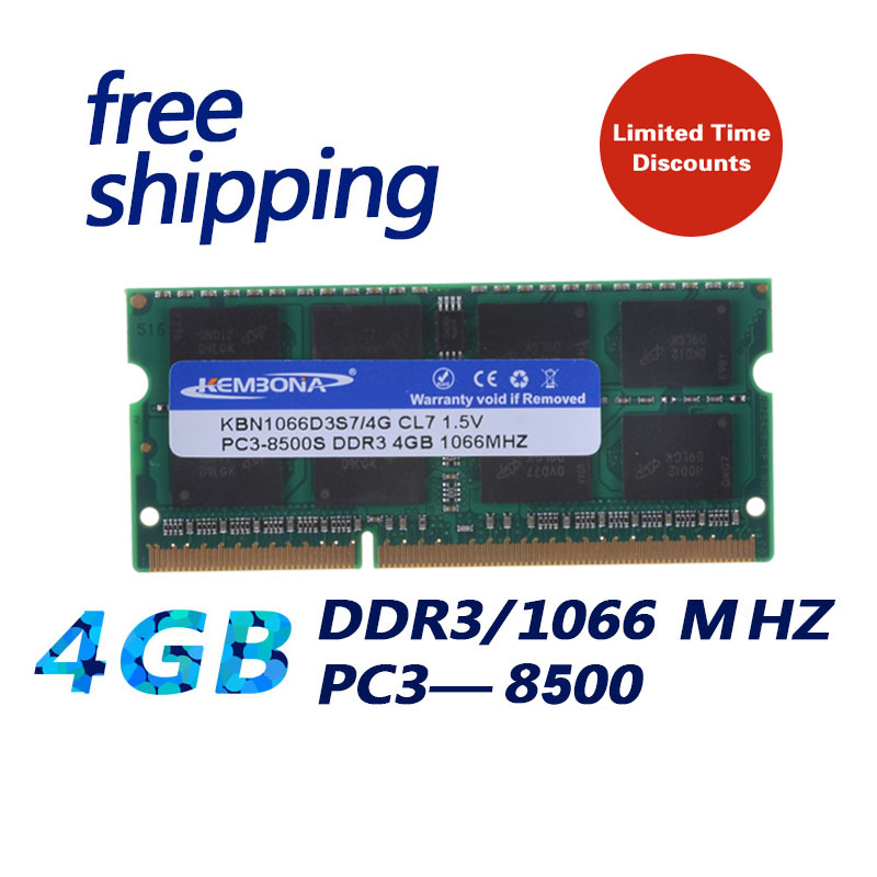 KEMBONA Brand New Sealed DDR3 1066/ PC3 8500 4GB Laptop RAM Memory compatible with all motherboard / Free Shipping!!! brand new sealed desktop ddr3 ram1x8gb lo dimm1600mhz pc3 12800 memory high compatible motherboard for pc computer free shipping