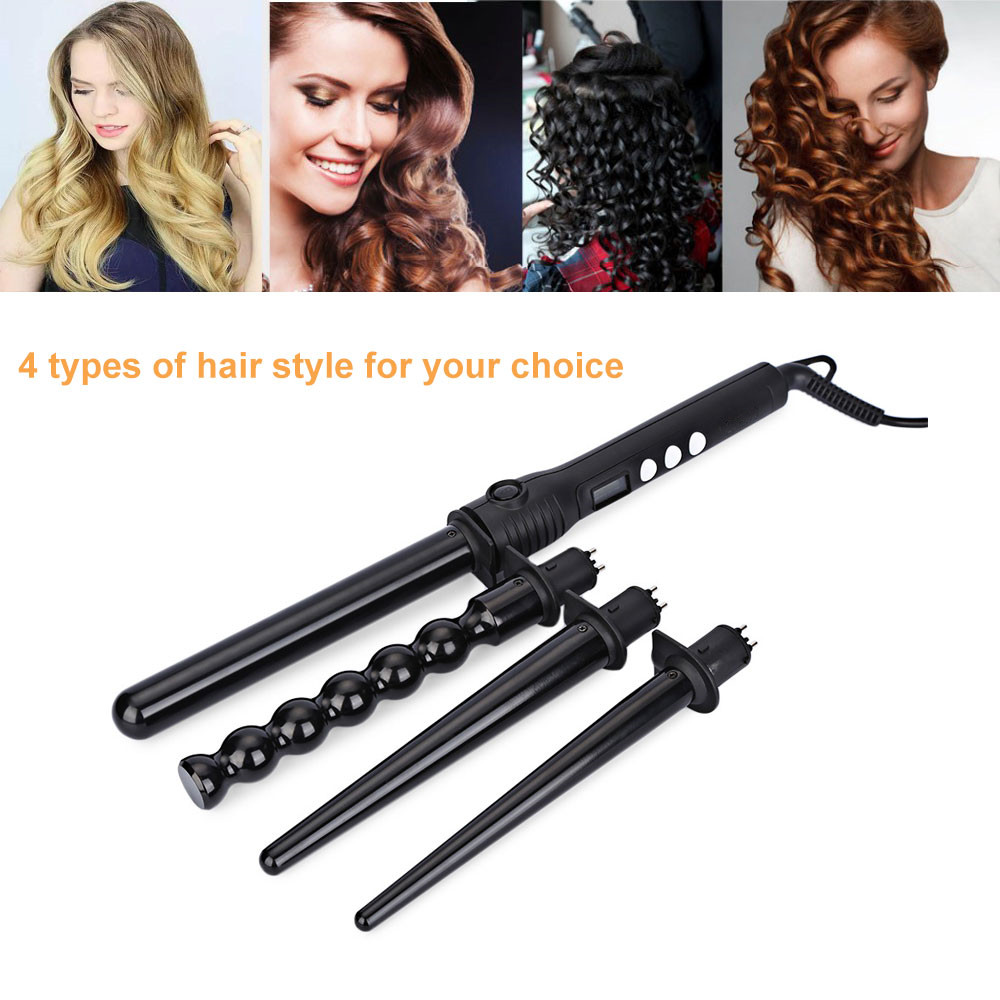 4 in 1 Interchangeable Hair Curling Iron Machine Ceramic Hair Curler Wand Tong Multi-size Roller Styling Tools Set ckeyin hair curling iron machine ceramic hair curler wand roller single tube pear flower cone curlers gloves hair styling set