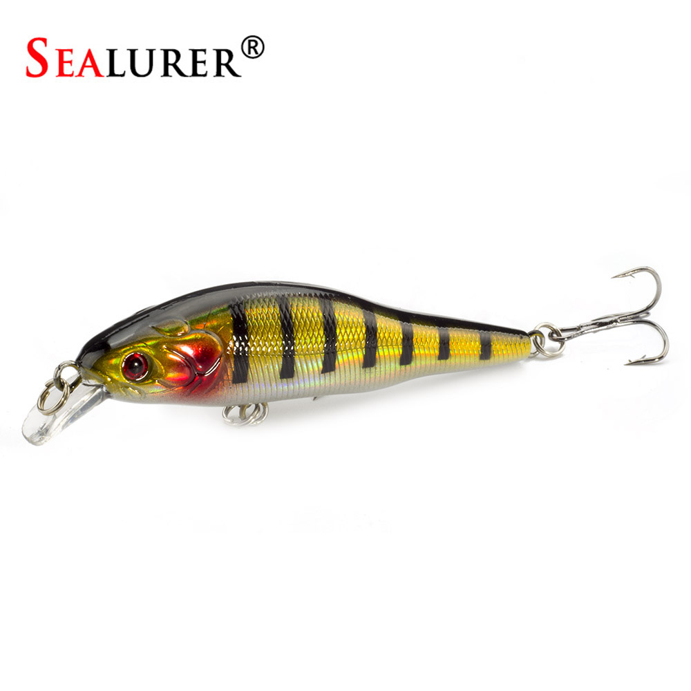 SEALURER 1Pcs 9cm 9.5g Jerkbait Wobblers Fishing Tackle 3D Eyes  Minnow Fishing Lure Crankbait 6# hook fly fishing