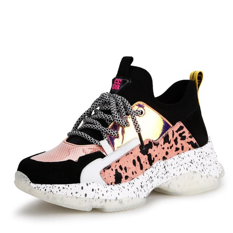 Ayakk.'ten Kadın Pompaları'de Moda ayakkabılar kadın sneakers 2019 Yeni bahar Ultralight Hakiki Deri platformu sneakers rahat ayakkabılar kadınlar'da  Grup 1