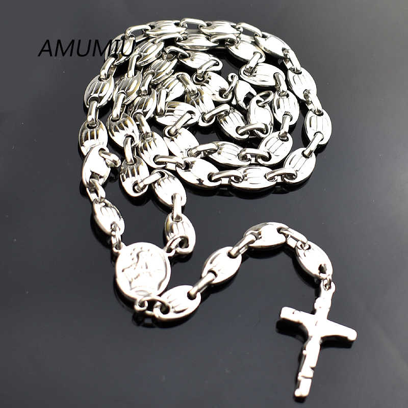 AMUMIU 6mm,Christmas Religious Jewelry Catholic, Stainless Steel Necklace Cross for Men Beads Rosary Necklace HN088