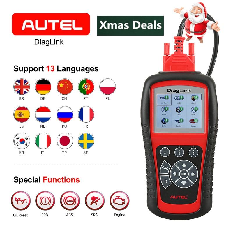 AUTEL Diaglink OBDII EOBD Auto Diagnose Code Reader Öl Reset SRS EPB ABS Übertragung Alle system Automotive OBD2 Scanner Tool