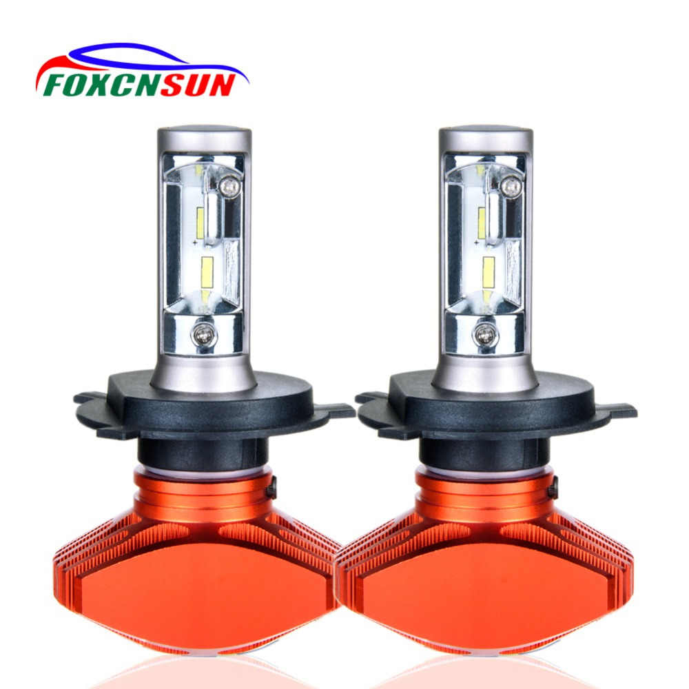 Foxcnsun H7 Led Car Headlight Fanless H11 H4 Led Bulb 9005 HB3 9006 HB4 Fog Light H1 Car Light 24V 12V Auto 80W 8000LM 6500K CSP