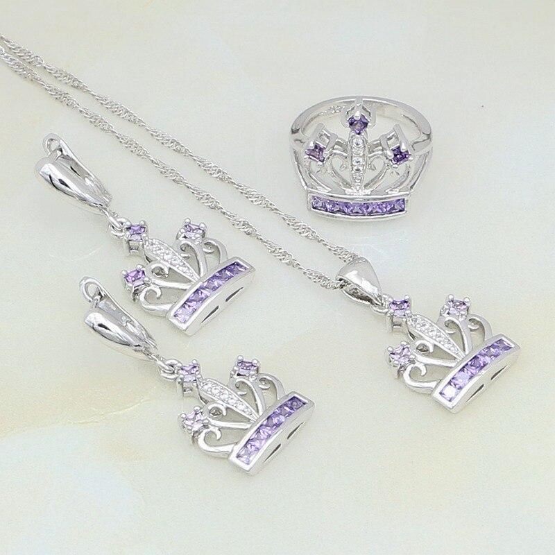 Crown Purple Zircon White Australian Crystal 925 Silver Jewelry Sets For Women Anniversary Earrings/Pendant/Necklace/Ring
