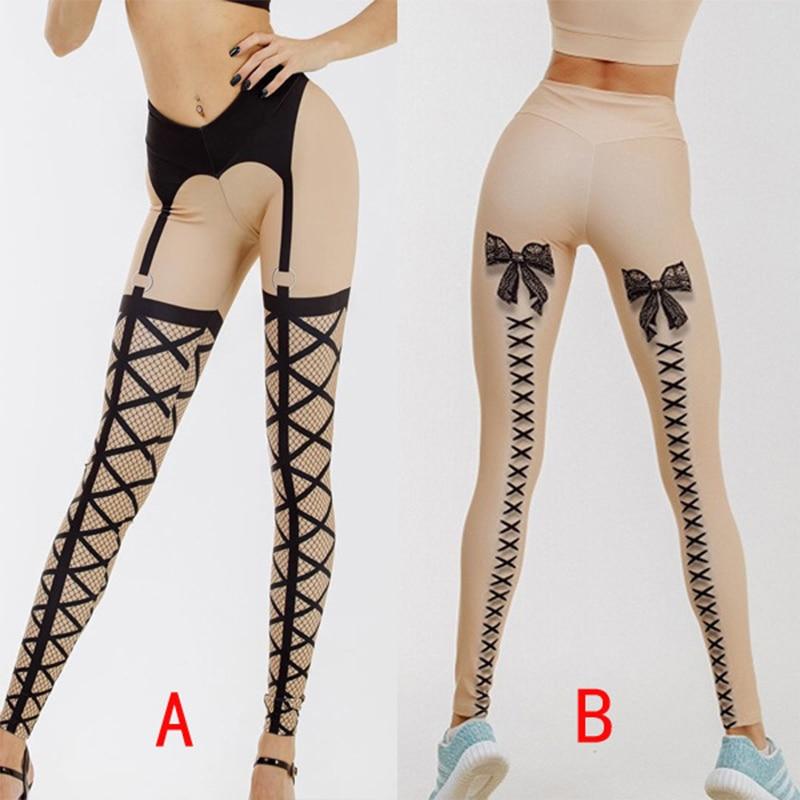 New Women Bandage Printed Leggings Thick Beige Black Sexy Club Dance Leggins High Elastic Lace Printed Long Pants 2019 Sexy