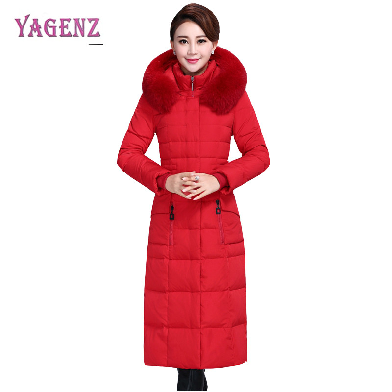 Winter Women Middle Age Long Down Cotton Jacket 2018 Thicken High Quality Warm Cotton Outerwear Slim Plus Size Overcoat 4XL B98 2017 middle aged winter jacket women thicken warm cotton padded slim plus size 6xl winter coat women parka high quality