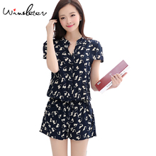 Summer Women Jumpsuit 6 Patterns Cat Horse Print Single-Breasted Elastic Waist With Sashes Rompers Overalls macacao S74406
