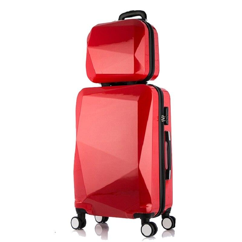2 pièces/ensemble 24 pouces set de valise de voyage boîtier de chariot De Voyage bagages valise à roulettes Femme sac Cosmétique de voyage sac