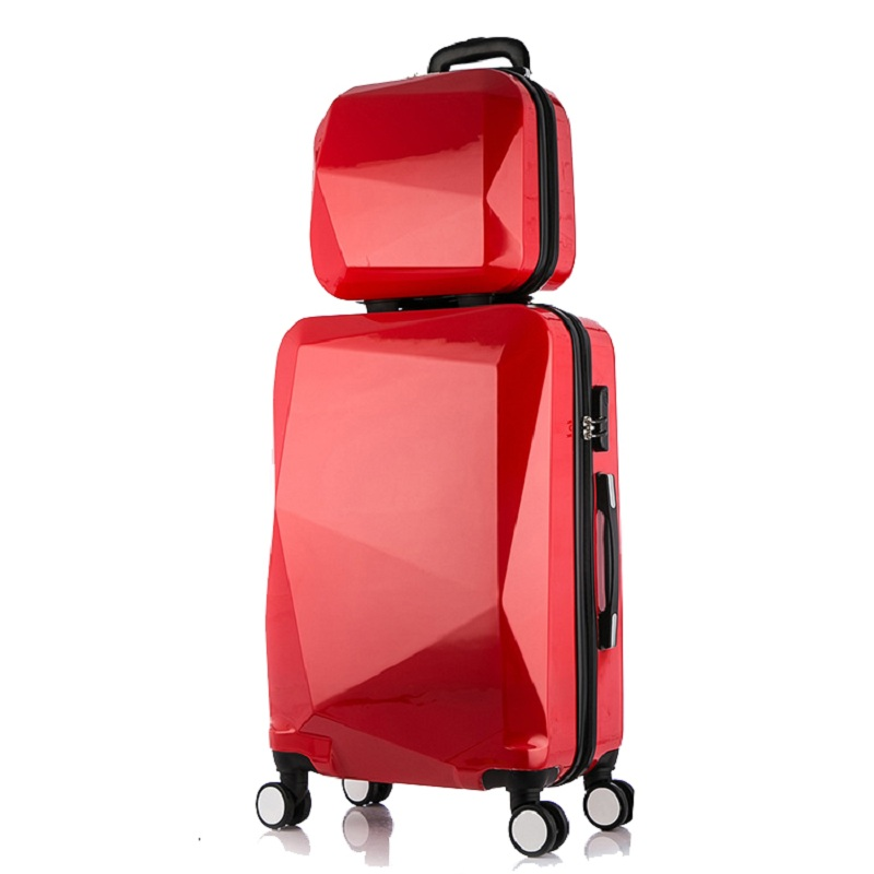 2pcs Set 24inch Travel Suitcase Trolley Case Spinner Luggage Rolling Woman Cosmetic Bag Carry On