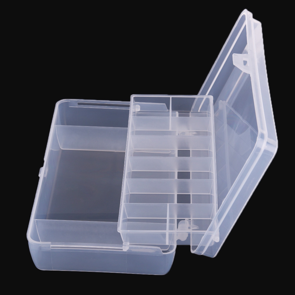 Practical 2 Layer Fishing Tackle Box Adjustable Compartments Fishing Plastic Box Portable Fishing Lure Hook Storage Case