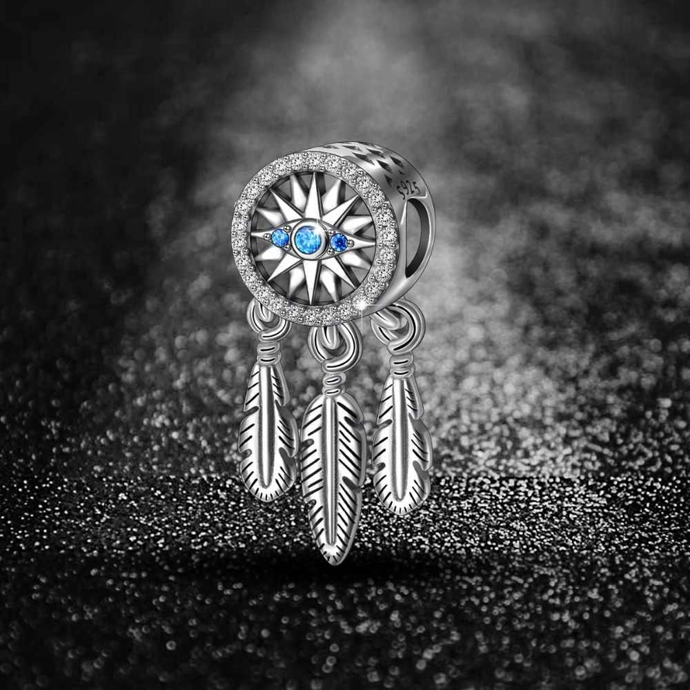EUDORA 925 argent Sterling Vintage capteur de rêves charmes & bleu Zircon oeil perles fit femmes argent Bracelets bijoux à bricoler soi-même faisant Z63