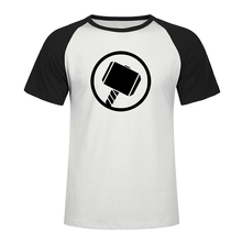 Thor Hammer T Shirt Mjolnir Casual Short Sleeve Raglan T-shirt Hip Hop T Shirt 2019 Summer Men Printed High Quality Tees Top Tee lace trim raglan sleeve t shirt