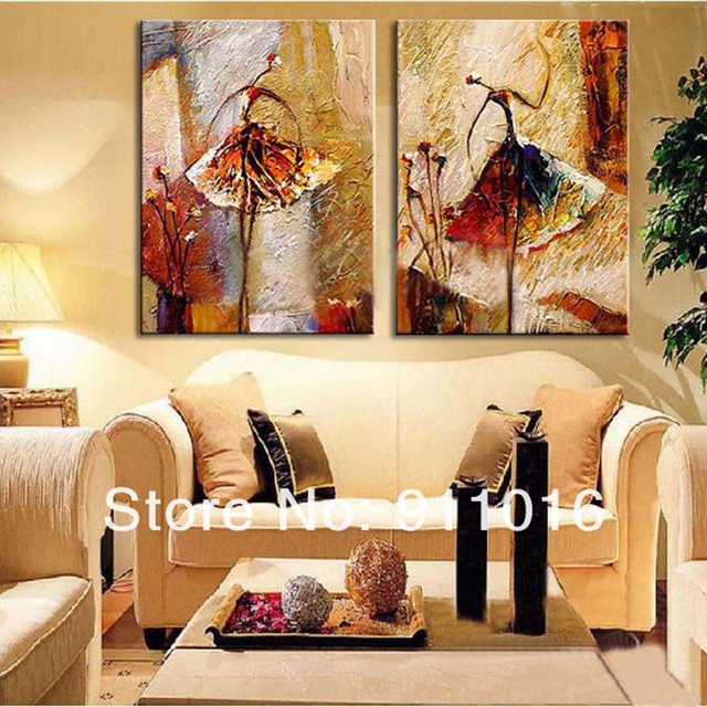 2 Panel Wall Art Pictures Oil Painting On Canvas Home Decoration Ballet  Dancer Artwork The Picture