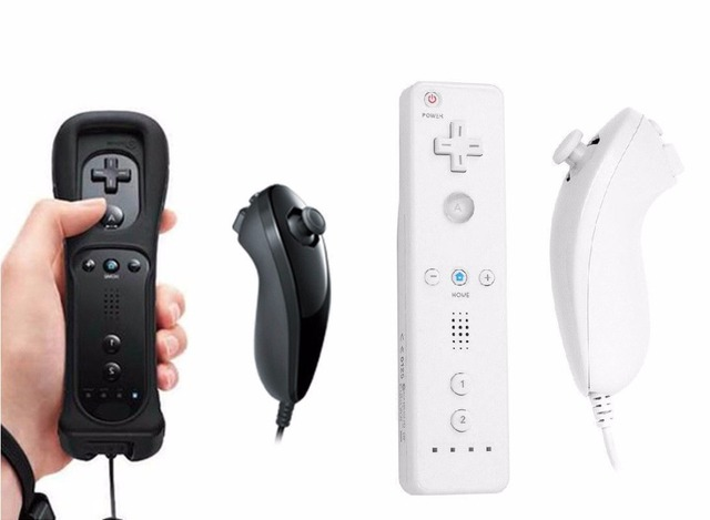 For Nintendo Wii 2 In 1 Set Wireless Bluetooth GamePad Remote Controller SYNC Joystick Left Hand+Nunchuck Optional Motion Plus