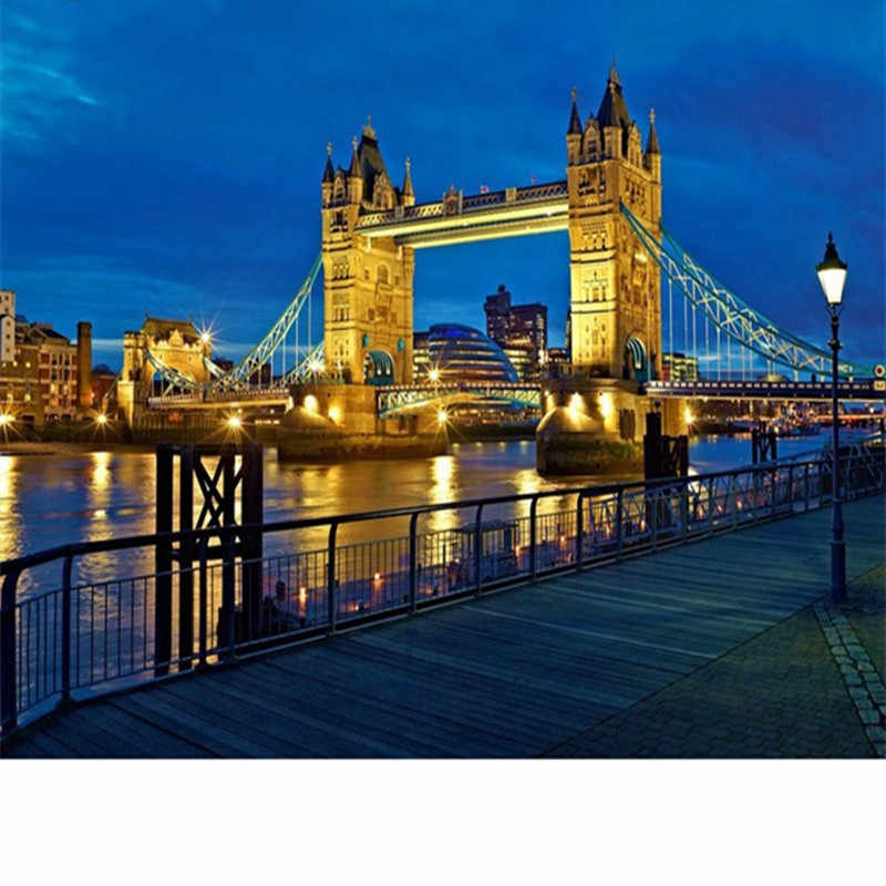 Full city scenery Diamond embroidery Tower Bridge of London Diamond painting city night cross stitch round drill Mosaic picture
