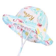 Защита от солнца Фламинго Дети Солнце Шляпа Лето Девочки Панама мягкий хлопок малыша Панама