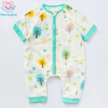 Herbabe Summer Baby Sleeping Bag for Newborn Infant 100% Cotton Soft Kids Sleepsacks Sleep Gown Baby Stroller Pajamas Jumpsuit thick baby stroller sleeping bag winter warm newborn foot cover infant windproof sleep bag stroller sleepsacks pram cushion