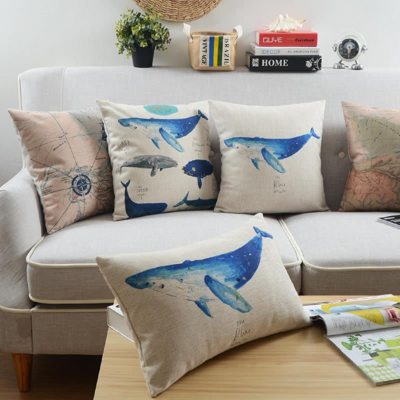 Mediterranean pillow Ocean Whale cushion Linen pillowcase throw pillow home decorative sofa cushions