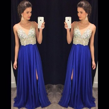 Royal Blue Side Split V-Neck Prom Dresses Long Party Gowns Formal Pageant Evening Celebrity Long Dress Vestidos De Novia