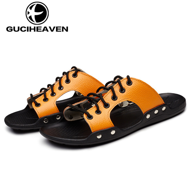 Cowhide Summer Men Beach Sandals Adjustable Lace Up Slippers Male Shoes  Mens Slippers Genuine Leather