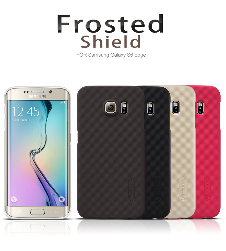 Original Nilkin Super Frosted Shield Hard Back PC Cover Case for Samsung Galaxy S6 Edge Phone Case + Screen Protector