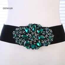 Korean High End Green Blue Crystal Gem Women Dress Belts Ela