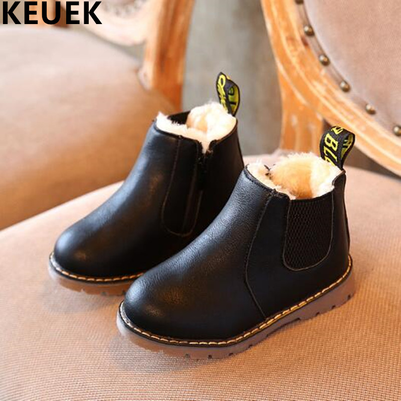 NEW Winter Shoes Baby Children Ankle Boots Boys Girls With Plush Leather Boots Toddler Baby Snow