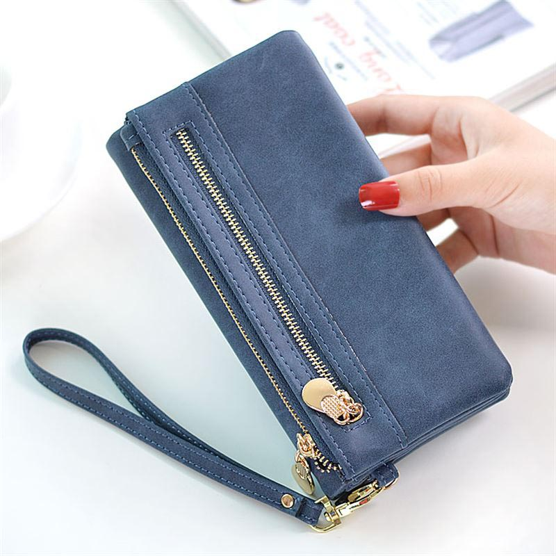 NEW Brand women wallet female coin pocket long purse fashion of the frosted retro double fold large-capacity card bag purse the ghosts of medak pocket