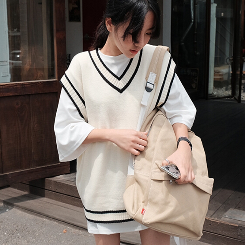 2019 Autumn Plus Size Sleeveless Vest Korean Casual Women Vest Knit Striped Sweater Vest Kz212