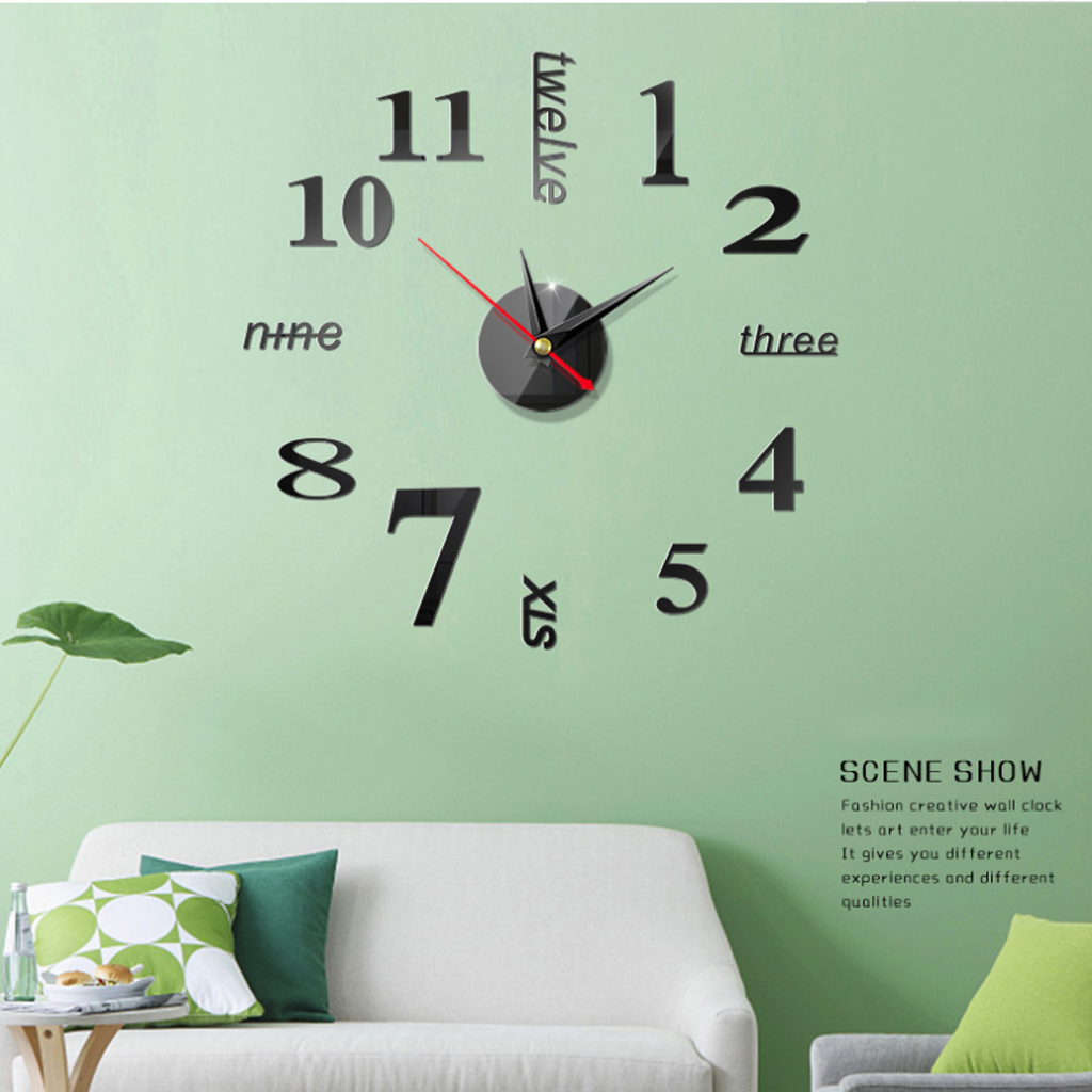 2019 New Home decorate big mirror wall clock modern design 3D DIY large decorate wall clocks watch wall unique gift living room