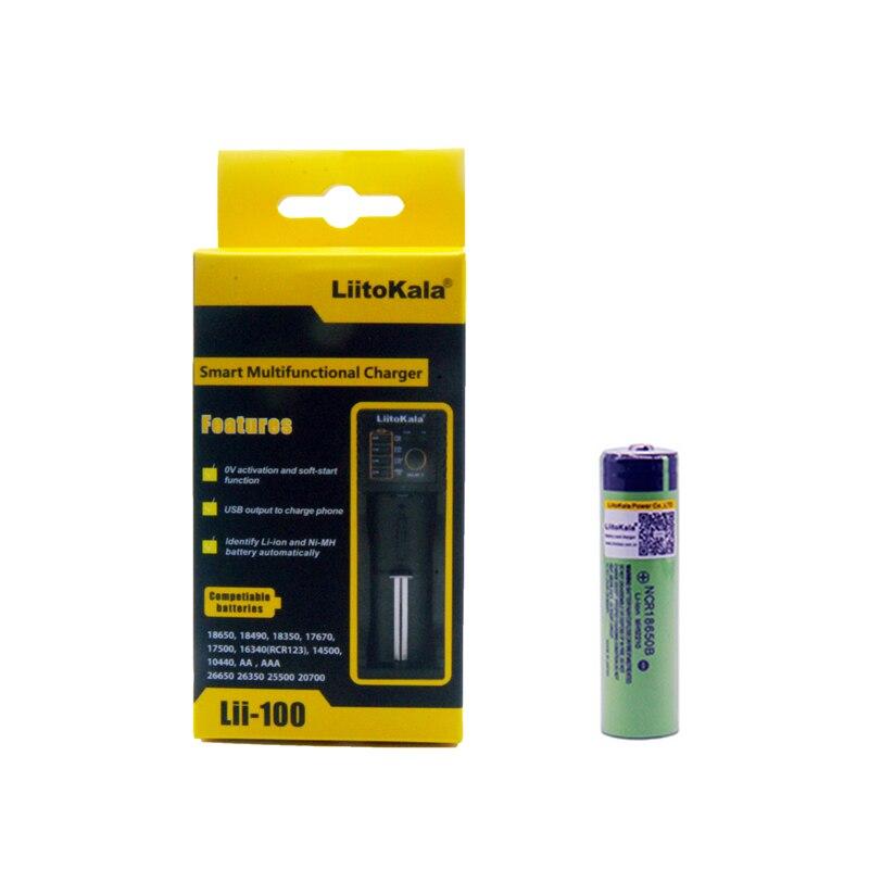 LiitoKala 18650 3400mAh 18650 Li-ion Rechargeable Battery(NO PCB)+ Lii-100 USB Lithium NiMH Smart Battery Charger
