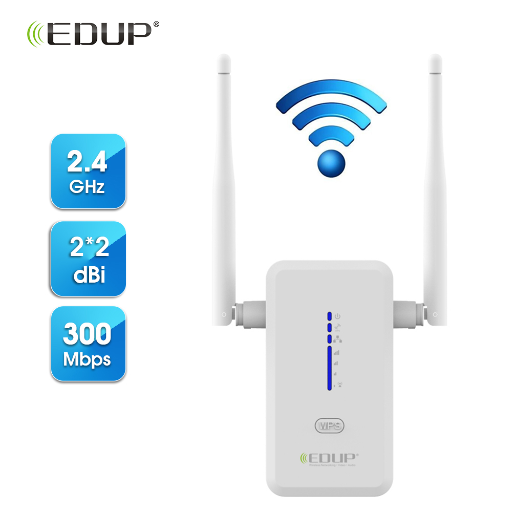 EDUP 300Mbps Wireless WiFi Repeater 802.11n/b/g 2*2dBi Antenna Wi-Fi Range Extender Wireless Repeater 2.4Ghz