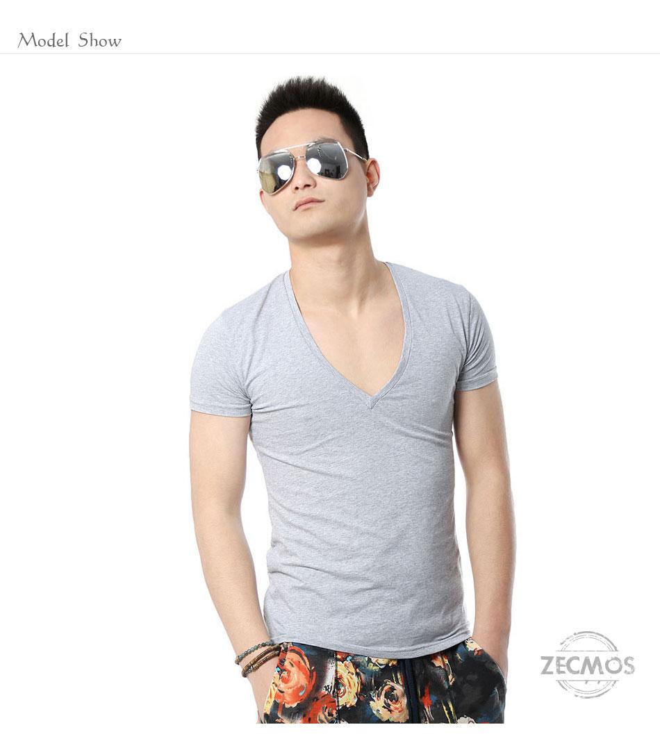 Zecmos Deep V Neck Sexy Men T-Shirt Vintage Short Sleeve Solid Color Muscle Fit T Shirt Men Top Tees Fashion 6