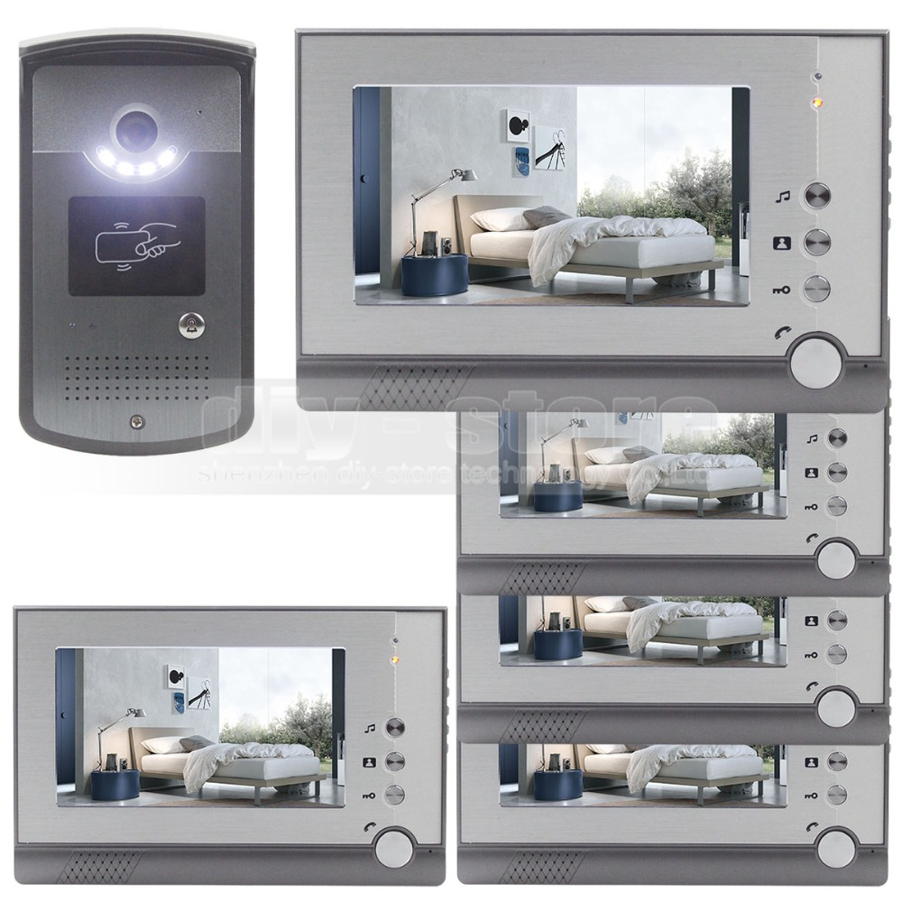 DIYSECUR 7inch Video Door Phone LED Night Vision RFID Unlocking Home Security Intercom System 1V5