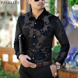 Image 1 - Luxo transparente camisa dos homens bordado floral camisa do laço para o sexo masculino sexy ver através do vestido camisas dos homens clube festa de formatura chemise