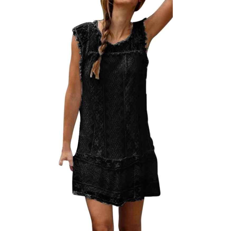 Srogem lato nowe mody kobiety swobodna koronka bez rękawów prosta krótka sukienka plażowa Tassel Mini O-Neck sukienka hurtownia Freeship N4
