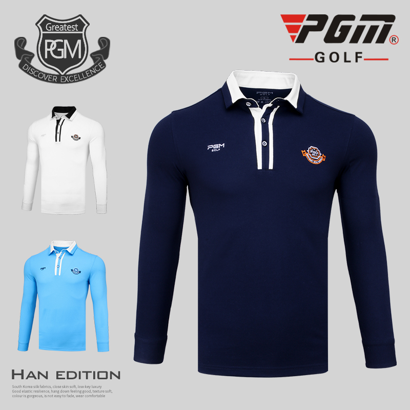 PGM Spring and autumn golf apparel men long-sleeved T shirt windproof warm golf clothing men breathable comfortable Golf Shirts