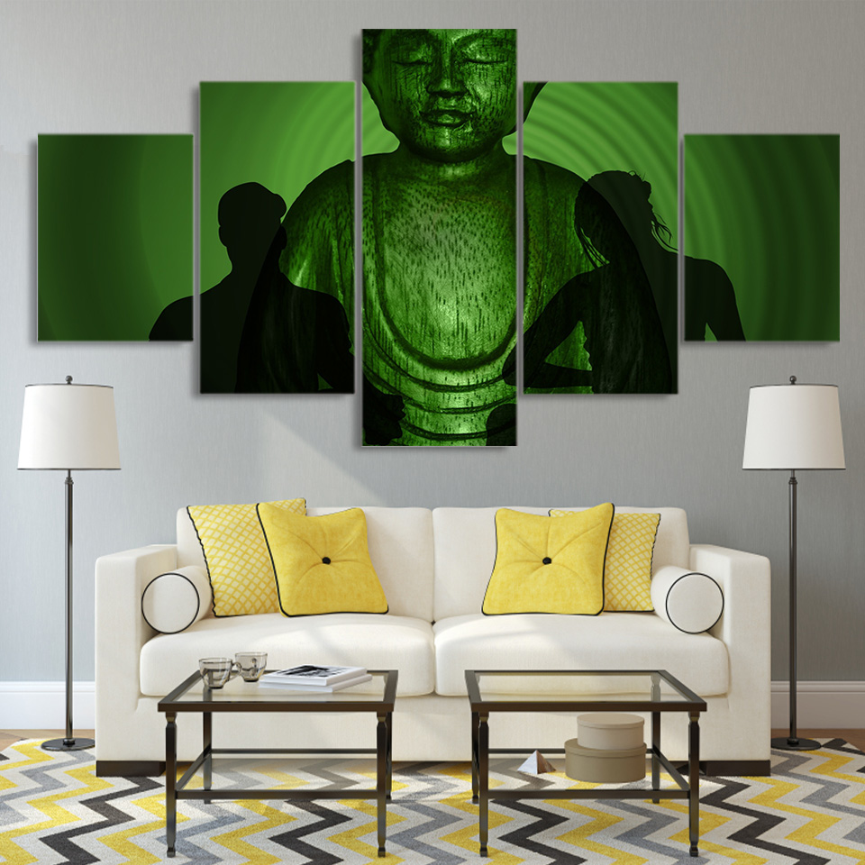 Pictures HD Painting Wall Art Modular 5 Panel Green Buddha Statue Framework Printed Modern Canvas Living Room Poster Home Decor