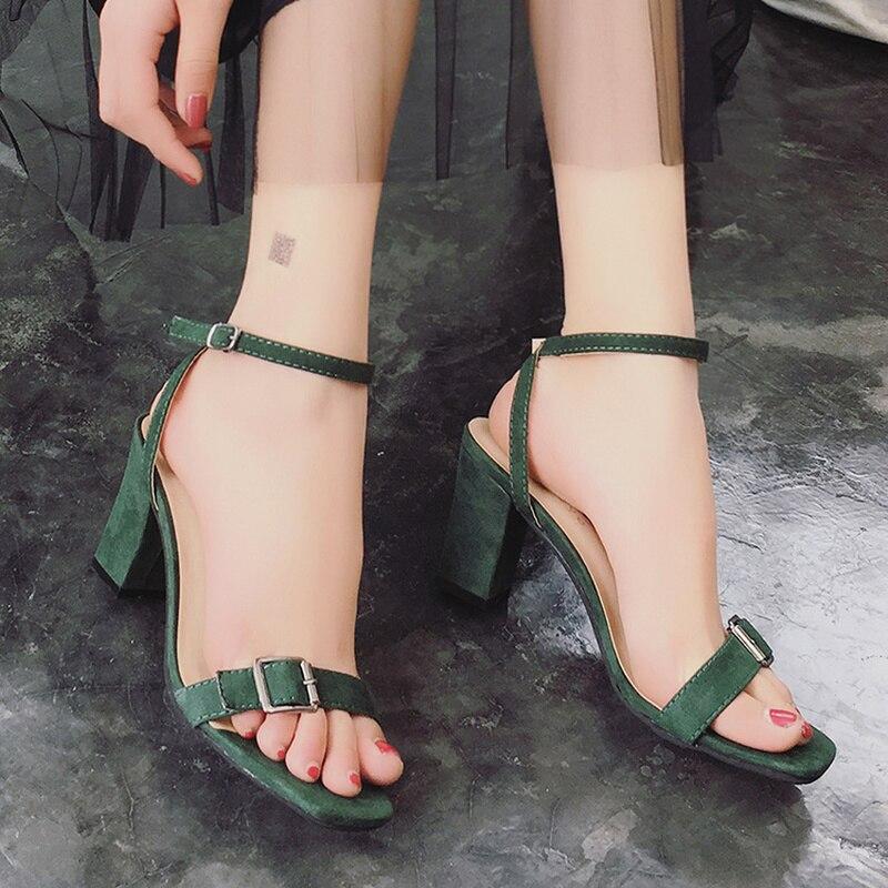 Beige Mazefeng Hauts Casual Boucle Carrés Rome Style À Femmes Mode Nouvelle Dames Chaussures D'été 2018 Talons noir vert Sandales wBHa8rqw