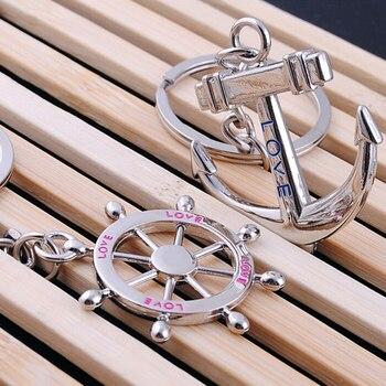 1 זוג הגה עוגן מפתח שרשרת 2018 זוג האופנה מפתח טבעת אוהבי מתנת טבעת Keychain Keyring מתנות