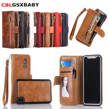 CBL 2 in 1 Zipper Wallet Leather Case For iPhone X 8 7 7 Plus 6 6S Plus Flip Phone Case Cover For iPhone XS Max XR 5 5S SE Case